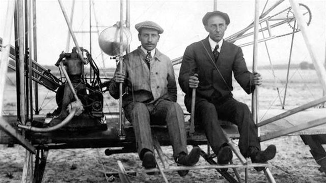 Wright brothers inventing, building, and flying the world's first successful airplane