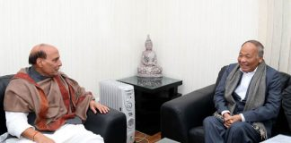The Chief Minister of Manipur, Okram Ibobi calling on the Union Home Minister, Rajnath Singh, in New Delhi on January 18, 2017.