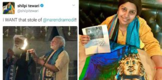 Shilpi Tiwari With Stole of PM Modi adiyogi stole modi sadguru Making india